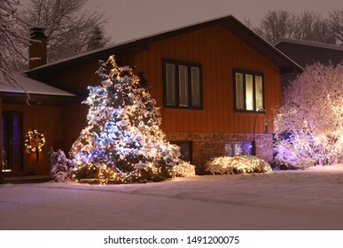 Beautiful winter blizzard night.Front yard tree and bushes of the private house decorated with glowing lights for winter holidays.Night scene with fresh snow.Christmas and New Year holiday background.