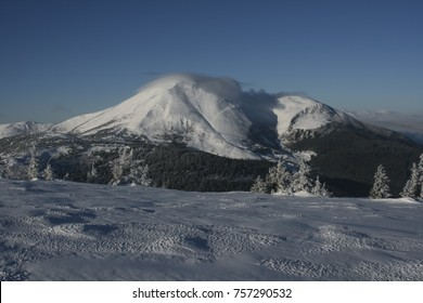 beautiful winter Carpathians. extreme in the winter mountains. beautiful winter in the mountains