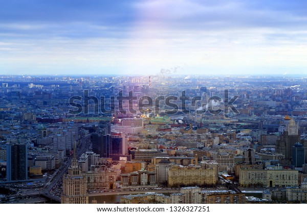 Beautiful winter cityscape view from above to Moscow with landmarks at sunrise