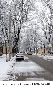 Beautiful winter images in the city. Cars are parked on Sciusev street in Chisinau.