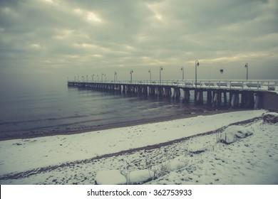 Beautiful winter landscape, and the Baltic Sea. Orlowo Gdynia