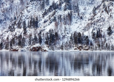 beautiful winter landscape by the lake or river, sea