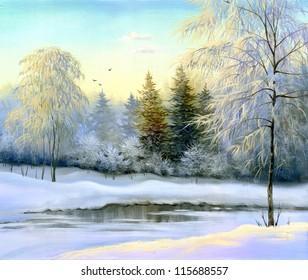 beautiful winter landscape, canvas, oil
