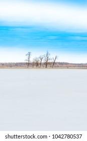 Beautiful winter landscape in countryside, lake in nature park Lonjsko polje, Croatia