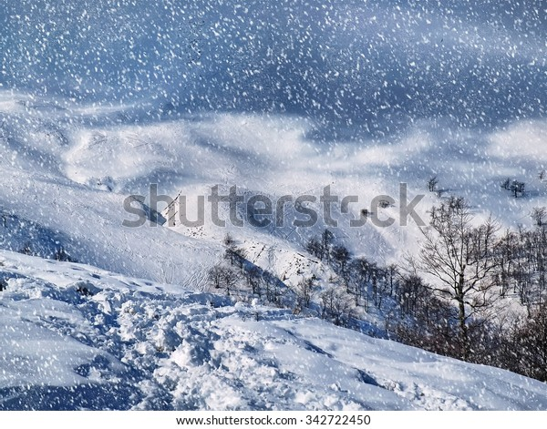 The beautiful winter landscape with falling snow