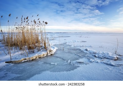 Beautiful winter landscape with frozen lake. Composition of nature.