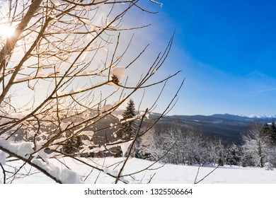 Beautiful winter landscape glowing by sunlight in the morning