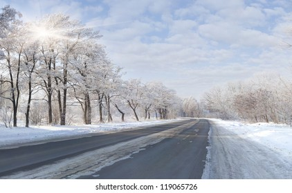 Beautiful winter landscape with a highway