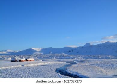 beautiful winter landscape in iceland