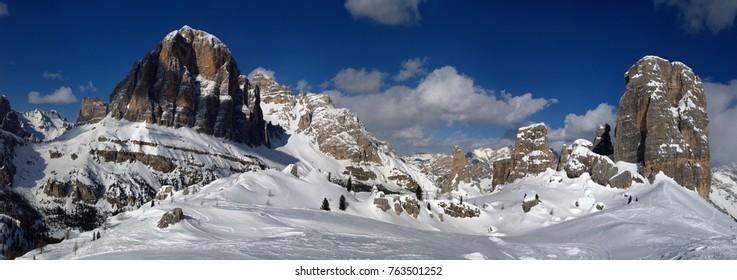 Beautiful Winter Landscape in the Italian Dolomites. Tofana di Rozes with the Cinque Torri group. Cortina d'Ampezzo, Veneto. Italy