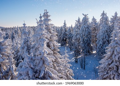 Beautiful winter landscape. Mountains in winter. The forest is covered with snow. Landscape for poster.Snowdrifts on winter snow covered mountainside and sun shine in blue sky.