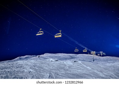 Beautiful. winter landscape on the blue sky and snowy mountains in France, Tignes. Night scene.