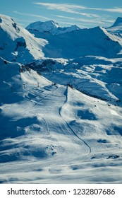 Beautiful. winter landscape on snowy mountains in France, Tignes. Ski resort on sunny day.