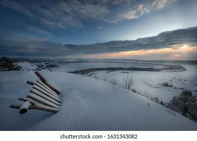 Beautiful winter landscape. The winter river.