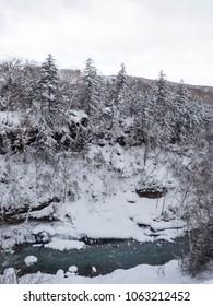 Beautiful winter landscape at Shirahige Waterfall, Biei, Hokkaido, Japan