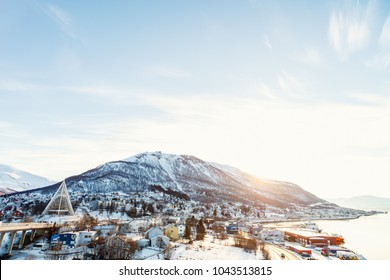 Beautiful winter landscape of snow covered town Tromso in Northern Norway