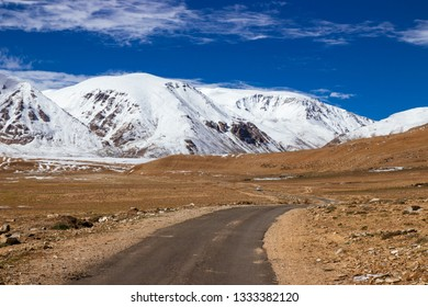 Beautiful winter landscape with snow covered in Leh Ladahk, Nepal