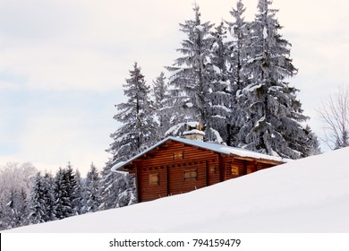 beautiful winter landscape with a snowy hut in France
