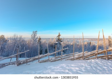 beautiful winter landscape view over trees in Dalarna Sweden