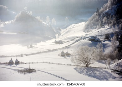 beautiful winter mountain landscape, Fundatura Ponorului, Hunedoara county, Romania