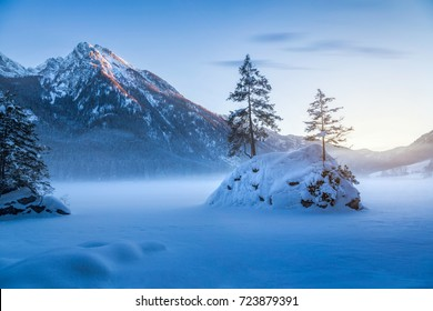 Beautiful winter mountain landscape at Lake Hintersee, Ramsau, Bavaria, Germany