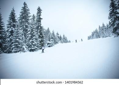 Beautiful winter mountain slope of a ski slope. Image