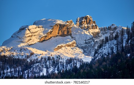Beautiful winter mountains landscape Ski resort Madonna di Campiglio.Panoramic landscape of Dolomite Alps in Madonna di Campiglio. Italy
