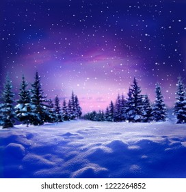 Beautiful winter night  landscape with snow covered trees.Christmas background . Happy New Year greeting card with copy-space.