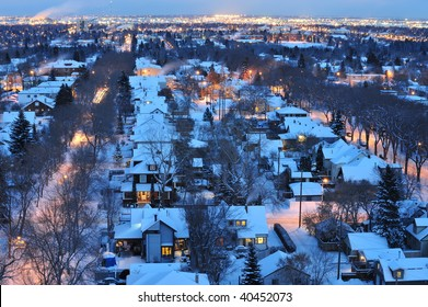 Beautiful winter night scene of the city edmonton, alberta, canada