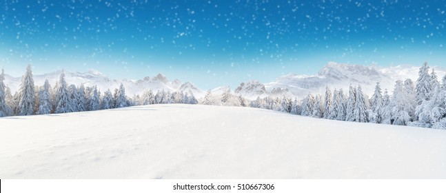 Beautiful winter panorama with fresh powder snow. Landscape with spruce trees, blue sky with sun light and high Alpine mountains on background - Shutterstock ID 510667306