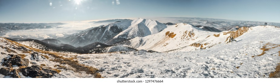 Beautiful winter panorama of mountainous landscape in Slovakia on sunny winter day.