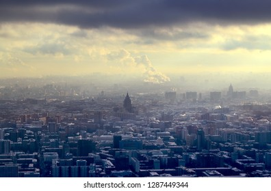 Beautiful winter photo of Moscow panorama with landmarks from above at sunset