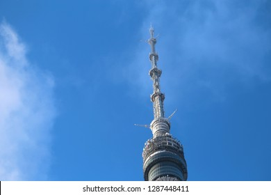 Beautiful winter photo of the Ostankino tower in Moscow against the blue sky