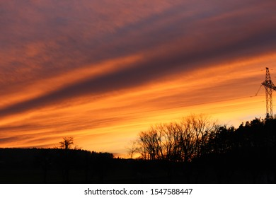 Beautiful winter and beautiful red clouds