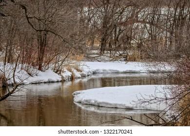 Beautiful Winter Scene Reflections on a River in Minnesota