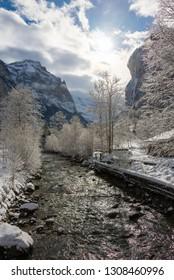 beautiful winter scenery in the swiss alps