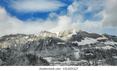 beautiful winter scenery in the swiss alps on a sunny day