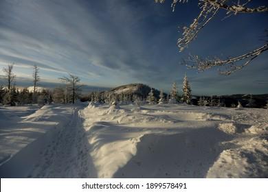 A beautiful winter in the Silesian Beskids. The trail on the Malinowska Skala Malinowska Skala - a tropical peak in the main ridge of the Barania Gora range in the Silesian Beskids  - Shutterstock ID 1899578491