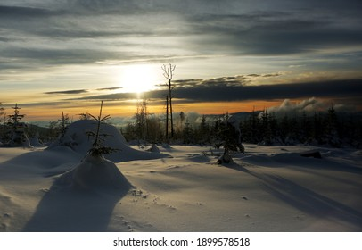 A beautiful winter in the Silesian Beskids. The trail on the Malinowska Skala Malinowska Skala - a tropical peak in the main ridge of the Barania Gora range in the Silesian Beskids