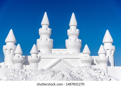 Beautiful Winter Snow Ice Castle in Harbin China