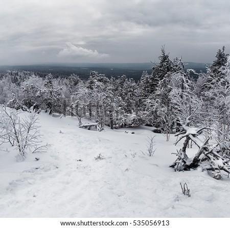 5d11a45a00ea Beautiful Winter Snowy Landscape Mountainous Terrain Stock Photo ...