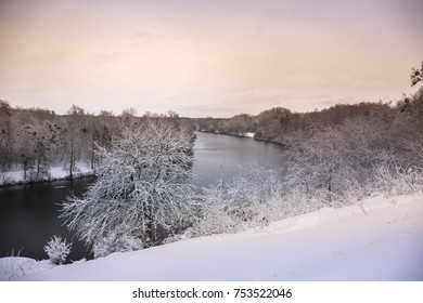 Beautiful winter snowy landscape in the park