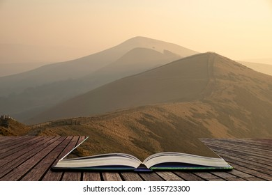Beautiful Winter sunrise landscape image of The Great Ridge in the Peak District in pages of open book, story telling concept