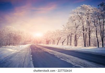 Beautiful winter sunrise on the highway