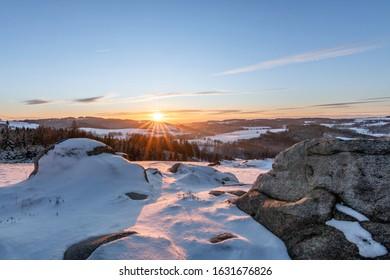 Beautiful winter sunset landscape, blue sky, Olesnice, Orlicke hory, Czech Republic - Shutterstock ID 1631676826