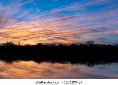 Beautiful winter twilight sky in Springfield park in Dallas, Texas
