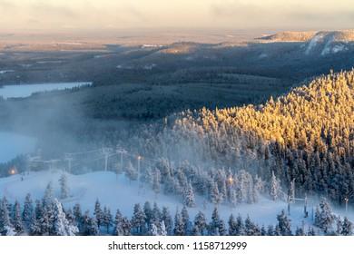 Beautiful winter view in the early morning. Finland, Ruka - Shutterstock ID 1158712999