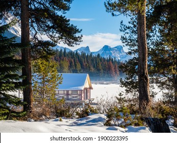 Beautiful winter view of Maligne Lake Boathouse, in Jasper National Park, Canada