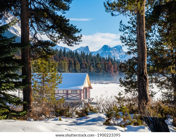 Beautiful winter view of Maligne Lake Boathouse, in Jasper National Park, Canada