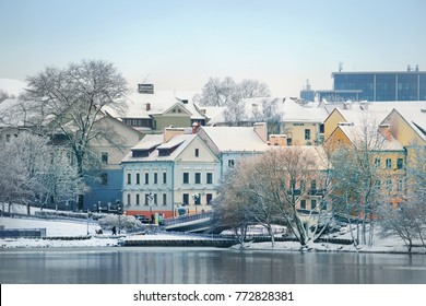 Beautiful winter view of the old town. Minsk. Belarus.